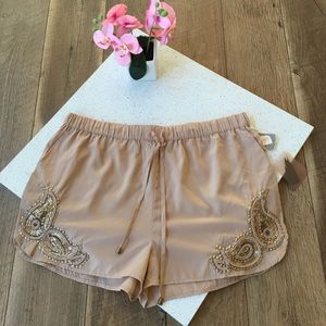 NWT Forever 21 sequin paisley woven cocoa shorts L